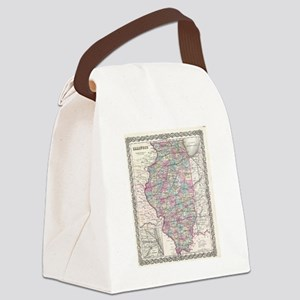 Vintage Map of Illinois (1855) Canvas Lunch Bag