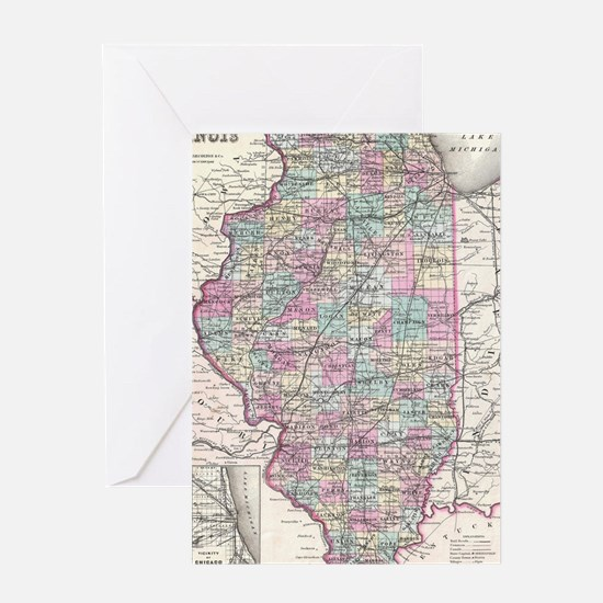 Vintage Map of Illinois (1855) Greeting Card
