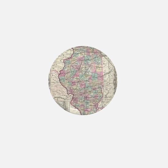 Vintage Map of Illinois (1855) Mini Button