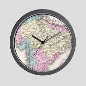 Vintage Map of India (1855) Wall Clock