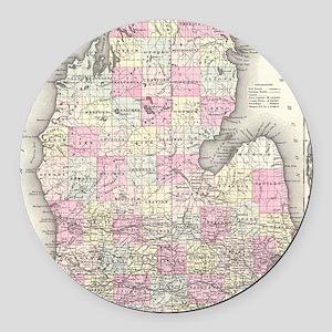 Vintage Map of Michigan (1855) Round Car Magnet