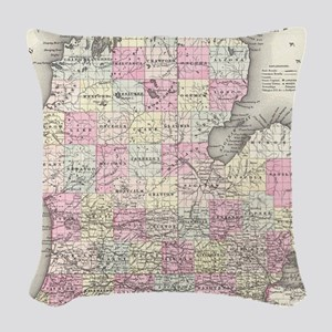 Vintage Map of Michigan (1855) Woven Throw Pillow