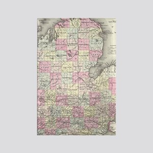 Vintage Map of Michigan (1855) Rectangle Magnet