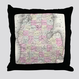 Vintage Map of Michigan (1855) Throw Pillow