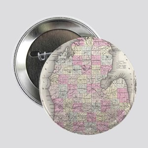 "Vintage Map of Michigan (1855) 2.25"" Button"