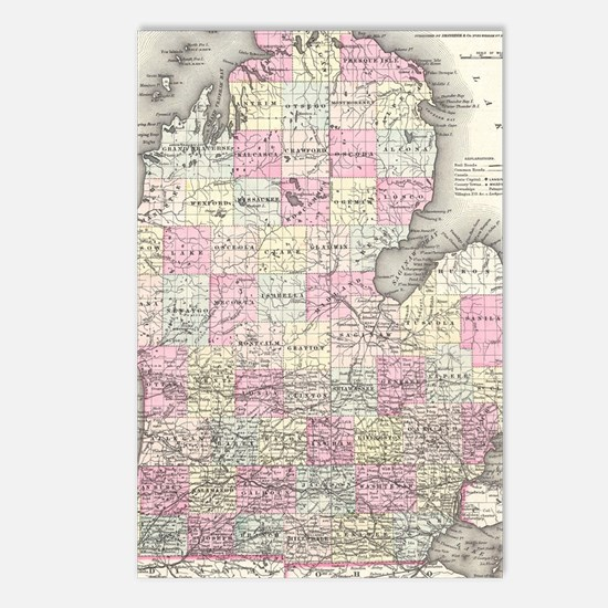 Vintage Map of Michigan ( Postcards (Package of 8)
