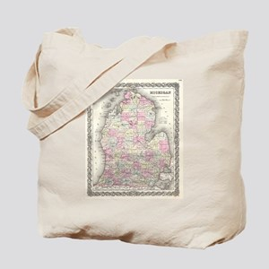 Vintage Map of Michigan (1855) Tote Bag