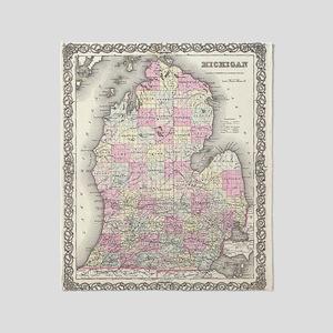 Vintage Map of Michigan (1855) Throw Blanket