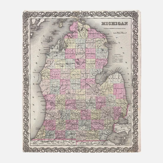 Vintage Map of Michigan (1855) Throw Blanket