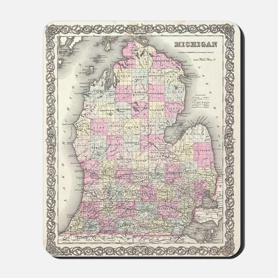 Vintage Map of Michigan (1855) Mousepad