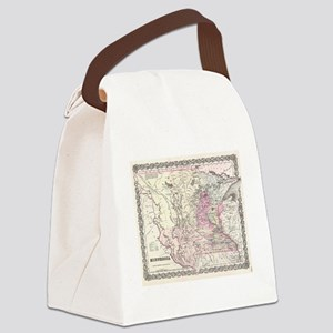 Vintage Map of Minnesota (1855) Canvas Lunch Bag