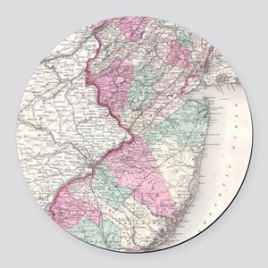 Vintage Map of New Jersey (1855) Round Car Magnet
