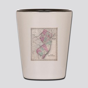 Vintage Map of New Jersey (1855) Shot Glass