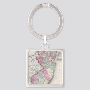 Vintage Map of New Jersey (1855) Square Keychain