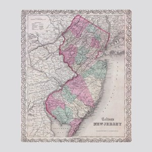 Vintage Map of New Jersey (1855) Throw Blanket