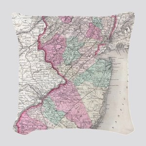 Vintage Map of New Jersey (185 Woven Throw Pillow