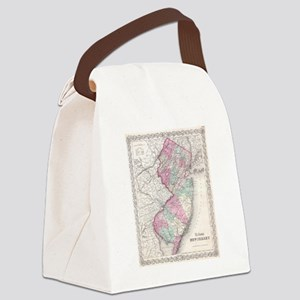 Vintage Map of New Jersey (1855) Canvas Lunch Bag