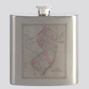 Vintage Map of New Jersey (1855) Flask