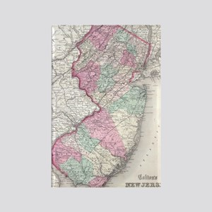 Vintage Map of New Jersey (1855) Rectangle Magnet
