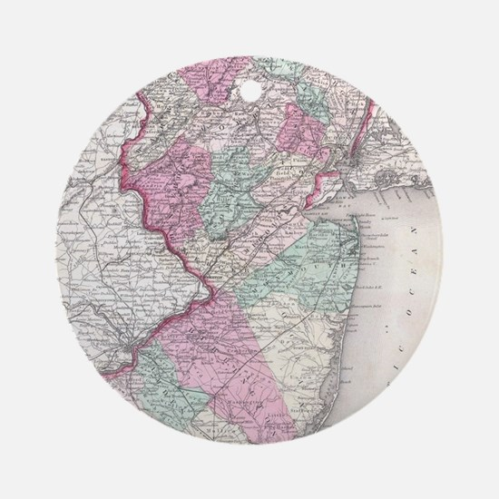 Vintage Map of New Jersey (1855) Round Ornament