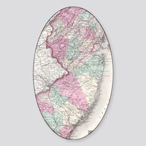 Vintage Map of New Jersey (1855) Sticker (Oval)