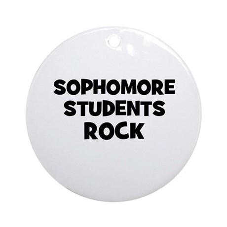 sophomore Students Rock Ornament (Round)