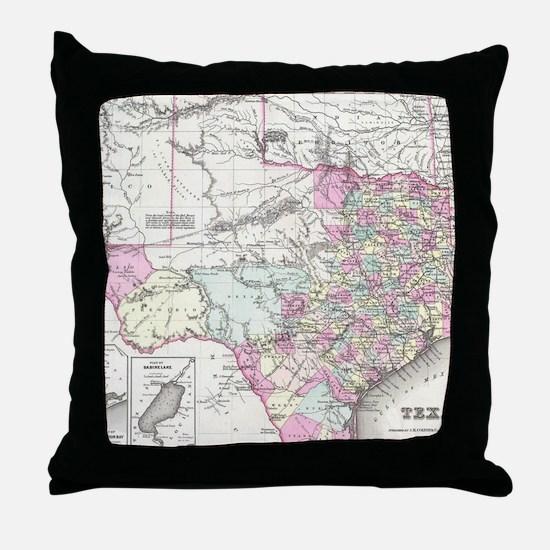 Vintage Map of Texas (1855) Throw Pillow
