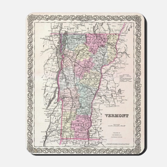 Vintage Map of Vermont (1855) Mousepad