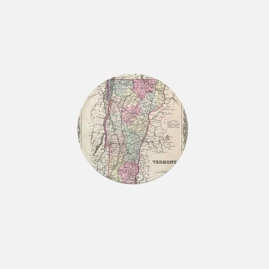 Vintage Map of Vermont (1855) Mini Button