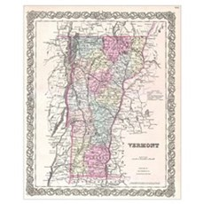 Vintage Map of Vermont (1855) Poster