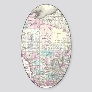 Vintage Map of Wisconsin (1855) Sticker (Oval)