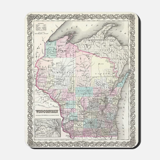 Vintage Map of Wisconsin (1855) Mousepad