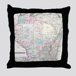 Vintage Map of Wisconsin (1855) Throw Pillow