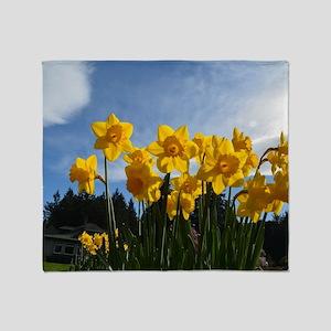 Beautiful yellow daffodil flowers in Throw Blanket