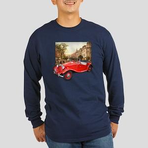 Red MG TD Roadster Long Sleeve Dark T-Shirt
