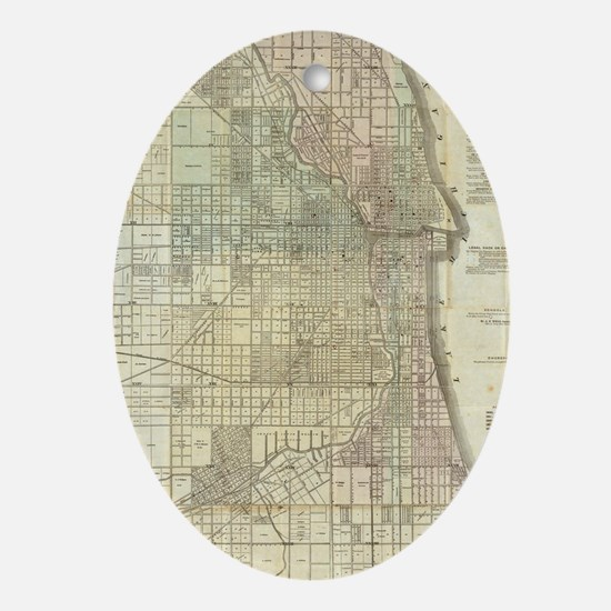 Vintage Map of Chicago (1857) Oval Ornament