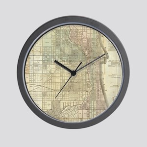 Vintage Map of Chicago (1857) Wall Clock