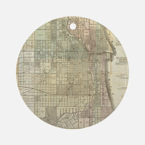 Vintage Map of Chicago (1857) Round Ornament
