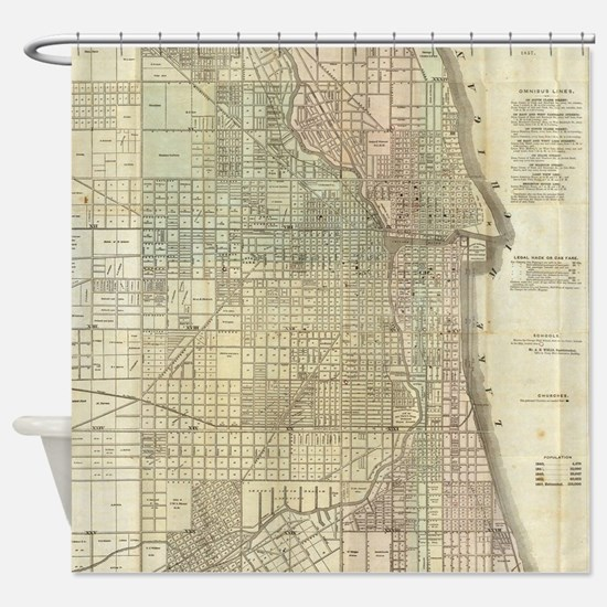 Vintage Map of Chicago (1857) Shower Curtain