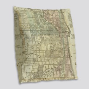 Vintage Map of Chicago (1857) Burlap Throw Pillow