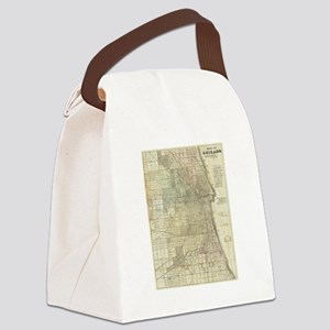 Vintage Map of Chicago (1857) Canvas Lunch Bag