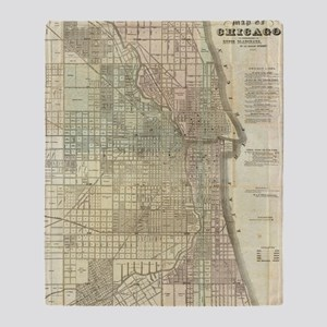 Vintage Map of Chicago (1857) Throw Blanket
