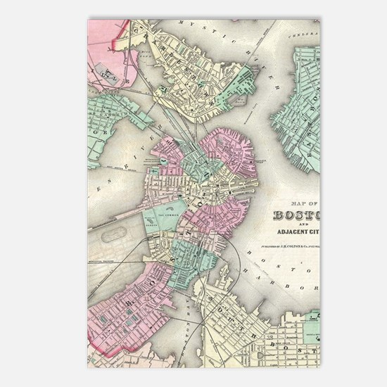 Vintage Map of Boston Har Postcards (Package of 8)