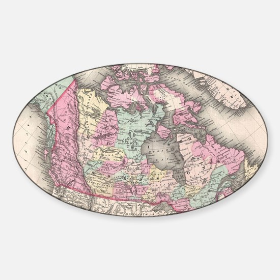 Vintage Map of Canada (1857) Sticker (Oval)
