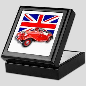Red MG TD with Union Jack Keepsake Box