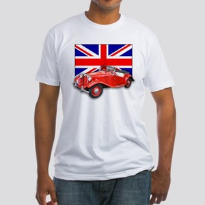 Red MG TD with Union Jack Fitted T-Shirt