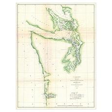 Vintage Map of Coastal Washington State (1857)  Poster