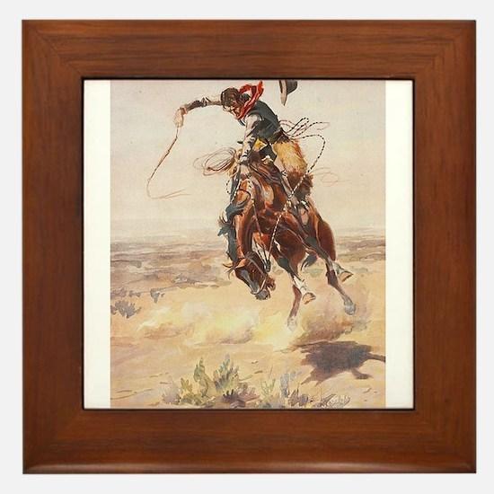 Cute Western art Framed Tile
