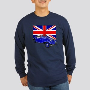 Blue MG TD w Union Jack Long Sleeve Dark T-Shirt