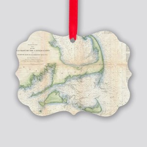 Vintage Map of Cape Cod (1857) Picture Ornament